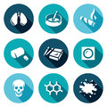 Vector Set of Smoking and Cancer Icons. Lungs, Ashtray, Cigar, Gum, Pack, Patch, Death, DNA, Blood. Royalty Free Stock Photo