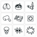 Vector Set of Smoking and Cancer Icons. Royalty Free Stock Photo