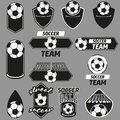 Vector set soccer champions labels vintage Stock Photography