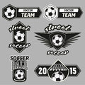 Vector set soccer champions labels vintage Royalty Free Stock Image