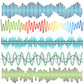 Vector set of sound waves. Audio equalizer. Sound & audio waves