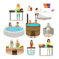 Vector set of Spa salon people, rehabilitation treatment design elements Royalty Free Stock Photo