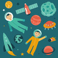 Vector set with space and planets icons astronaut in Stock Image