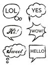 Vector set of speech bubbles in comic style. Hand drawn set of dialog windows with phrases Hi, Hello, Yes, Wow, Sweet