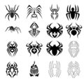 Vector set of spider symbols Stock Image