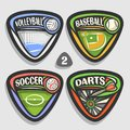 Vector set of sport logos Royalty Free Stock Photo