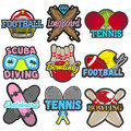Vector set of sports emblems, badges, logos, labels, banners. Isolated templates bowling, tennis, skateboard, football Royalty Free Stock Photo