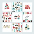 Vector set of square cards with different textured gift boxes. Hand drawn elements. Backgrounds with Christmas design Royalty Free Stock Photo