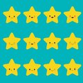 Vector set of star emoticons. Collection of yellow stars with different emotions in cartoon style on blue background