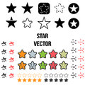 Vector Set of Star Icons. Illustration isolated on white background. Royalty Free Stock Photo