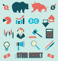 Vector Set: Stock Market Icons and Symbols Royalty Free Stock Photo