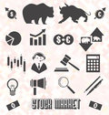 Vector Set: Stock Market Icons and Symbols Royalty Free Stock Photography
