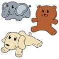 Vector set of stuffed animals