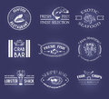 Vector set of style seafood labels Royalty Free Stock Photo