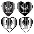 Vector set of stylish monochrome plektrum for guitar