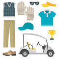 Vector set of stylized golf icons hobby equipment collection cart golfer player sport symbols