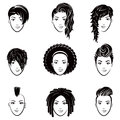 Vector set of stylized logo with beautiful women hairstyles. Fashion stylish collection of fashionable hairstyle. Royalty Free Stock Photo