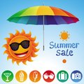 Vector set with summer design elements sale icon and sign Stock Photos