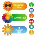 Vector set with summer design elements sale icon and sign Royalty Free Stock Photo