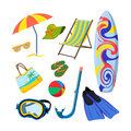 Vector set of summer objects isolated on white background. Beach vacation concept.