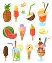 Vector set of summer sweets isolated elements
