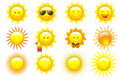 Vector Set Suns. Vector  Royalty Free Stock Photography