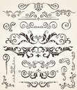 Vector set of Swirl Elements and Corners for design. Calligraphic page decoration, Labels, banners, baroque Frames Royalty Free Stock Photo