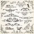 Vector set of Swirl Elements for design. Calligraphic page decoration, Labels, banners, antique and baroque Frames Royalty Free Stock Photo