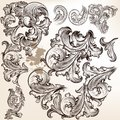 Vector set of swirls in vintage floral style calligraphic elements for design calligraphic Royalty Free Stock Photography