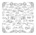 Vector Set of Swirly Calligraphic Lines, Design Elements Set, Luxury Decorative Divider Lines. Royalty Free Stock Photo