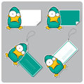 Vector set of tags and stickers with cartoon duck Stock Image