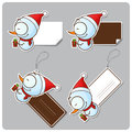 Vector set of tags and stickers with cartoon snowman Royalty Free Stock Photo