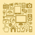 Vector set of technology icons in retro style computers and phones Royalty Free Stock Photos