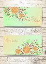 Vector set of templates invitations or greeting cards with flowers and watercolor elements.