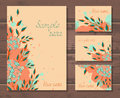 Vector set of templates invitations or greeting cards with hand drawn flowers.