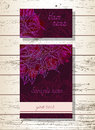 Vector set of templates invitations or greeting cards with hand drawn roses and watercolor elements.
