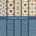 Vector set of ten seamless traditional arabic geometric patterns. design for covers, textile, packaging
