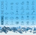 Vector set of thin line hiking camping travel Icons with seamless mountains