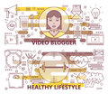 Vector set of thin line Video blogger, Healthy lifestyle banners
