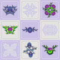 Vector set of a thistle flowers and Celtic knots