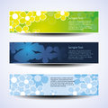 Vector set of three banner designs with flowers colorful banners abstract flower in freely scalable and editable format Royalty Free Stock Photography