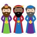 Vector Set of Three Wise Men or Magi Royalty Free Stock Photo