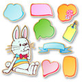 Vector set a toy rabbit and speech bubbles Royalty Free Stock Photos