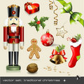 Vector set: traditional christmas Royalty Free Stock Photos