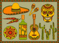 Vector set traditional mexican symbols of guitar cactus tequila chili pepper maracas sombrero scull Stock Images