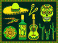 Vector set traditional mexican symbols of guitar cactus tequila chili pepper maracas sombrero scull Royalty Free Stock Photo