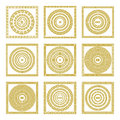 Vector set Traditional vintage golden square and round Greek ornament Meander border greece gold Royalty Free Stock Photo
