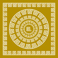 Vector set Traditional vintage golden square and round Greek ornament Meander and floral pattern on a black background Royalty Free Stock Photo