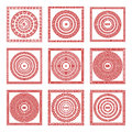 Vector set Traditional vintage golden square and round Greek ornament Meander pattern on a red background greece art Royalty Free Stock Photo