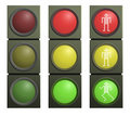 Vector set of traffic lights Royalty Free Stock Photo